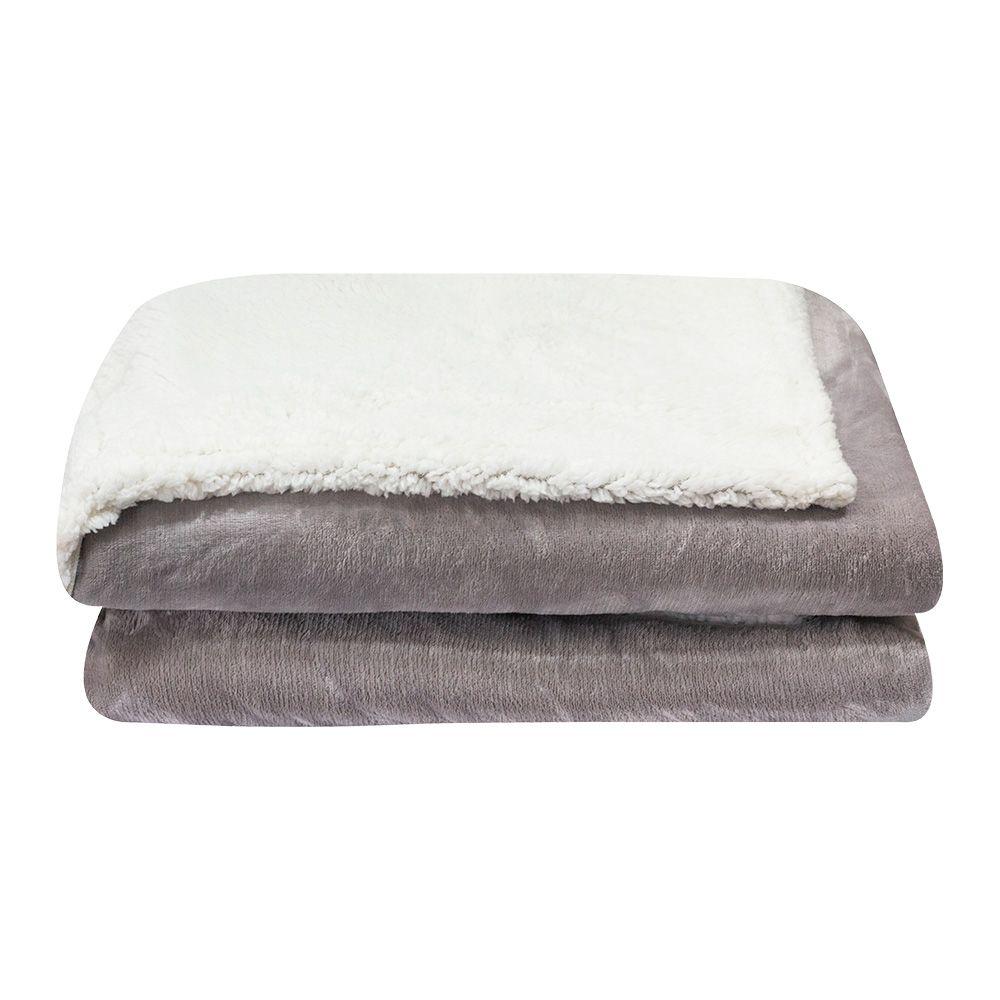 Cobertor Dupla Face Sultan Casal Realce Premium Cinza Liso