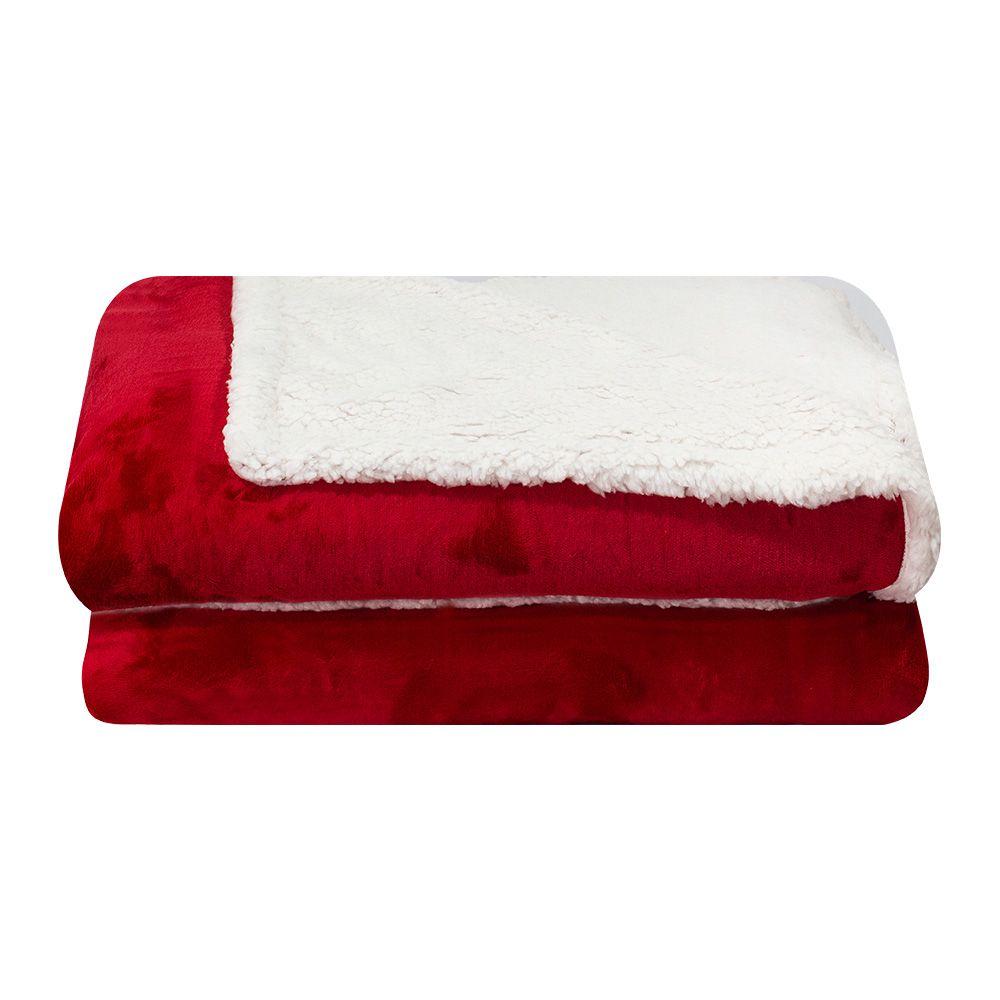 Cobertor Dupla Face Sultan Casal Realce Premium Vermelho Liso