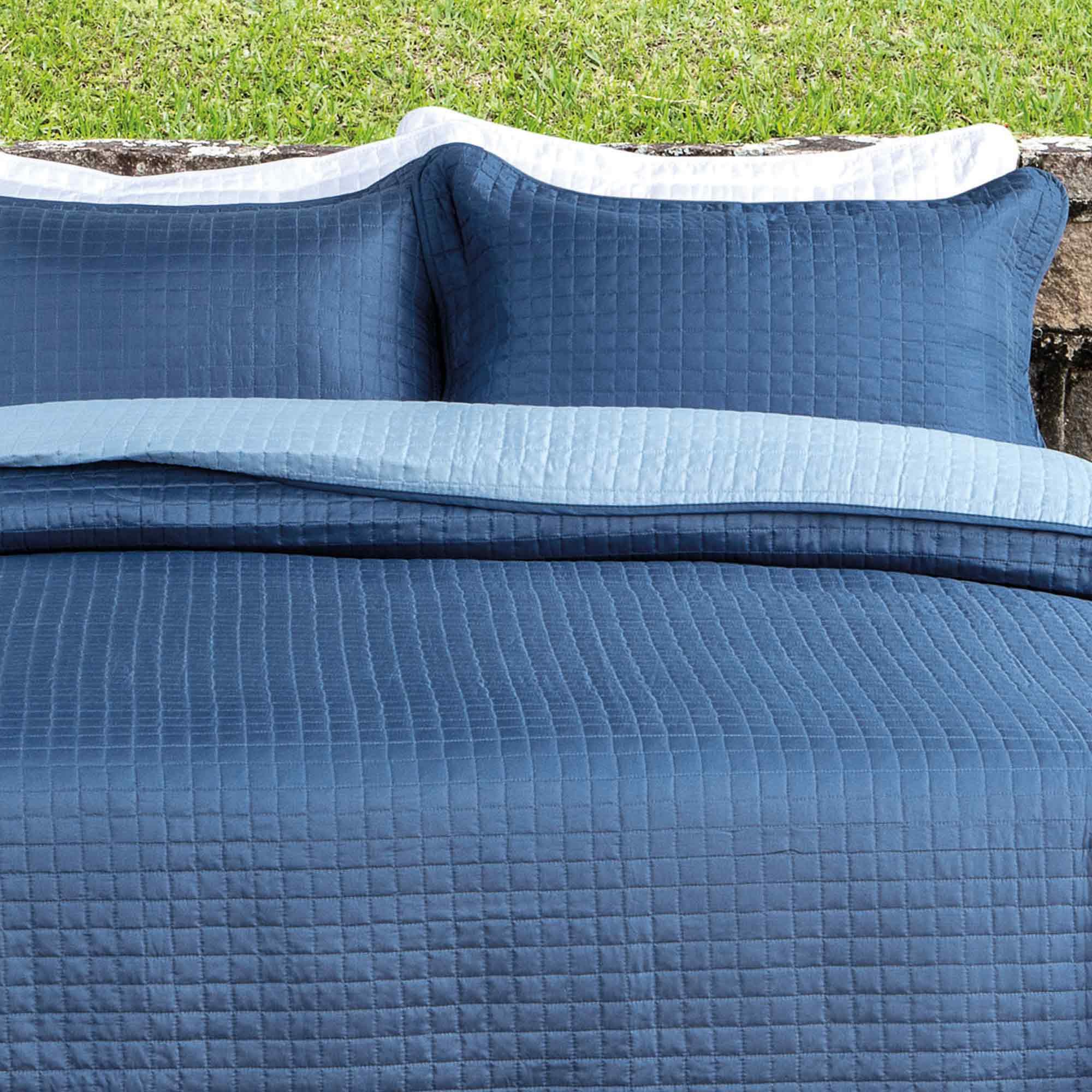 Colcha Kacyumara Casal 3 peças Decore Tintos Blue