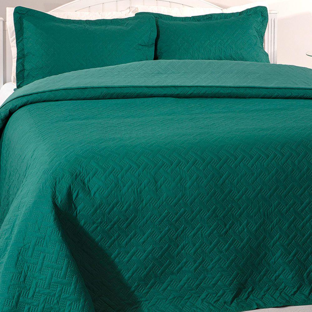 Colcha Kacyumara Casal 3 peças Decore Tintos Green