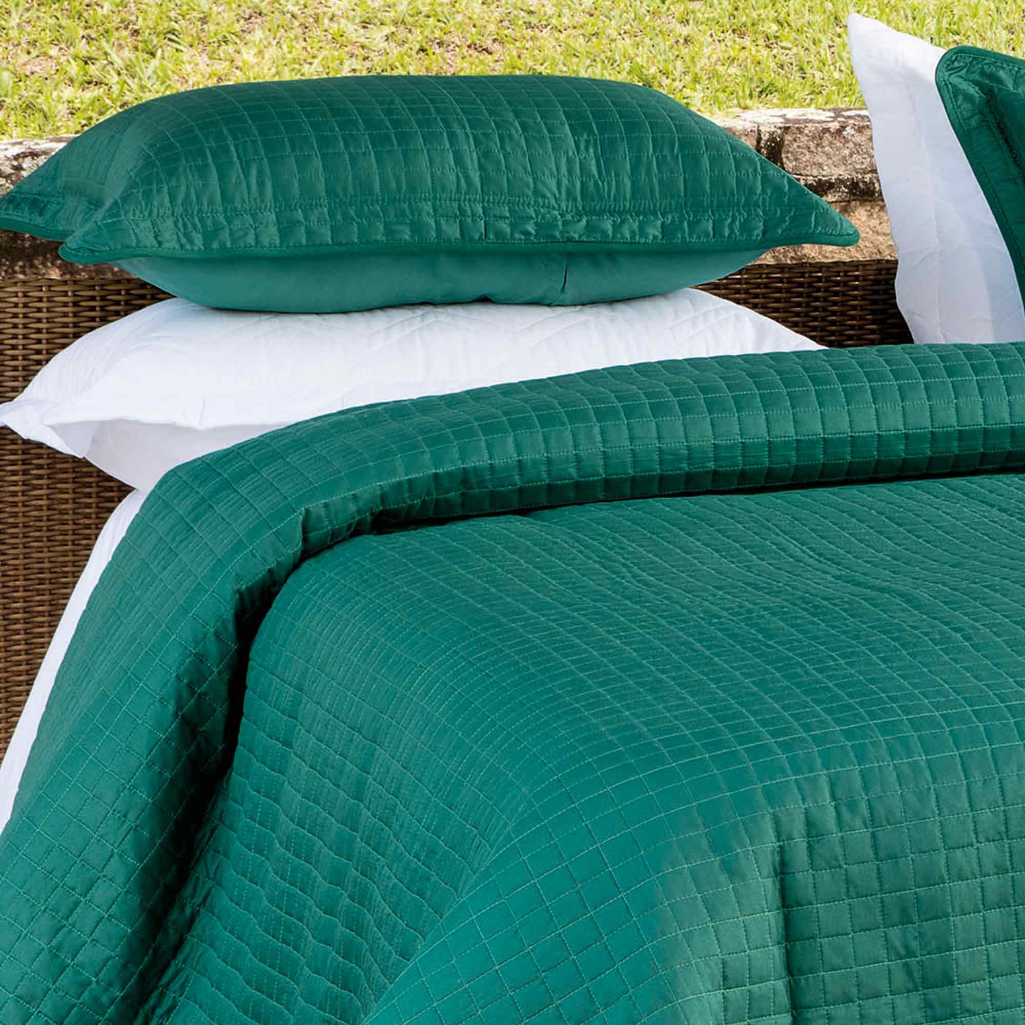 Colcha Kacyumara Queen 3 peças Decore Tinto Green