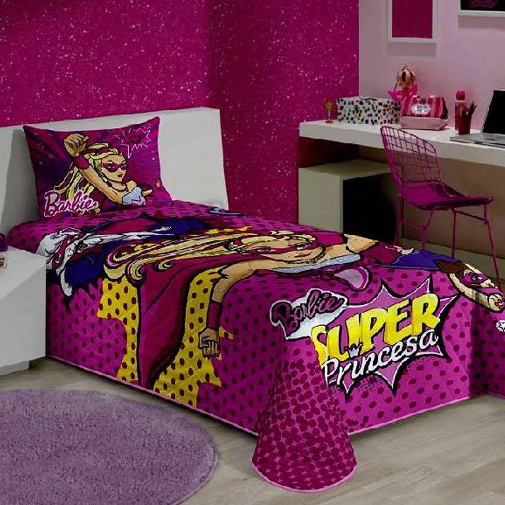 Colcha Matelassê Lepper Solteiro Barbie Super Princesa