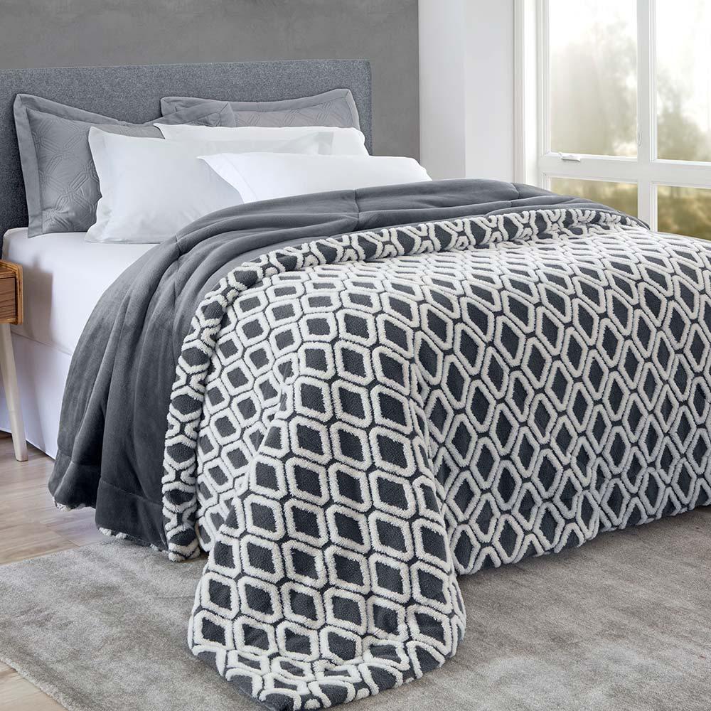 Edredom Corttex King  Home Design Jacquard Islândia Ravi Chumbo