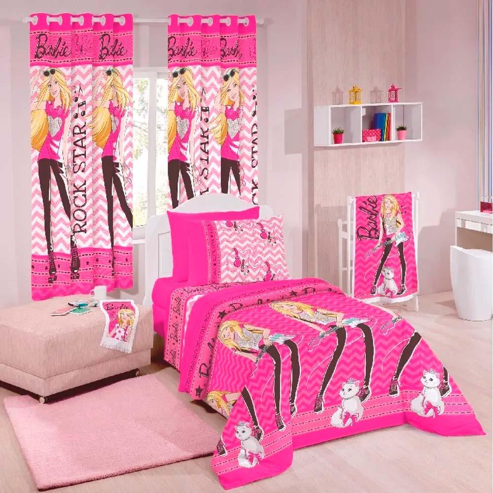 Edredom Dupla Face Santista Solteiro Disney Barbie Rock