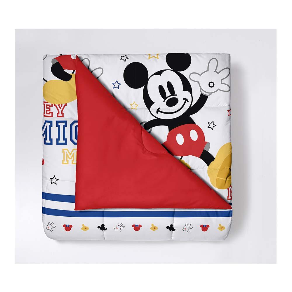 Edredom Dupla Face Santista Solteiro Disney Mickey Play