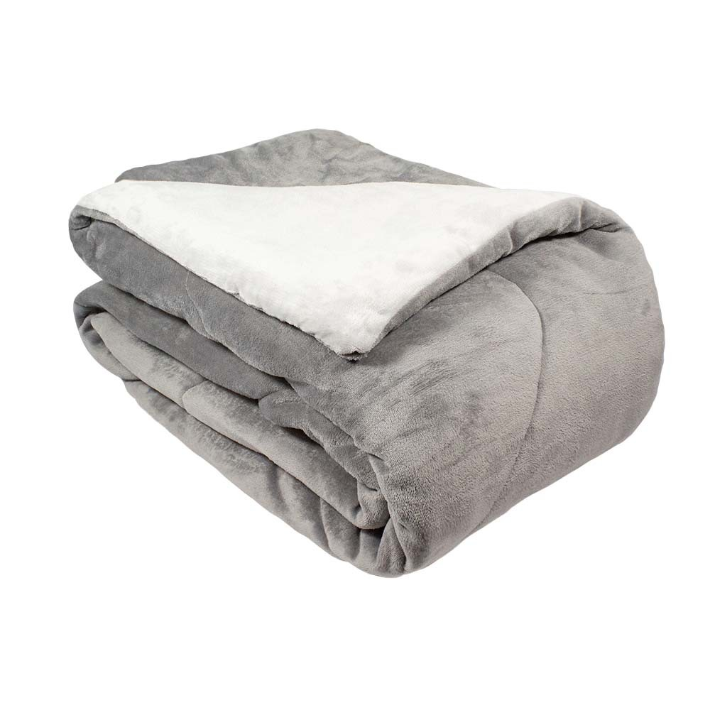 Edredom Queen Plush Flannel Appel - Cinza