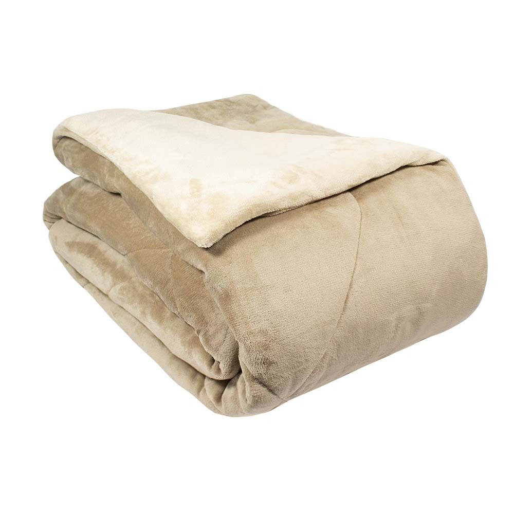 Edredom Queen Plush Flannel Appel - Taupe