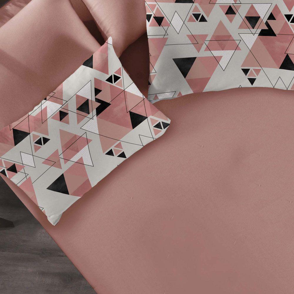 Jogo de Cama Casal Portallar Cubismo Rosa Antigo