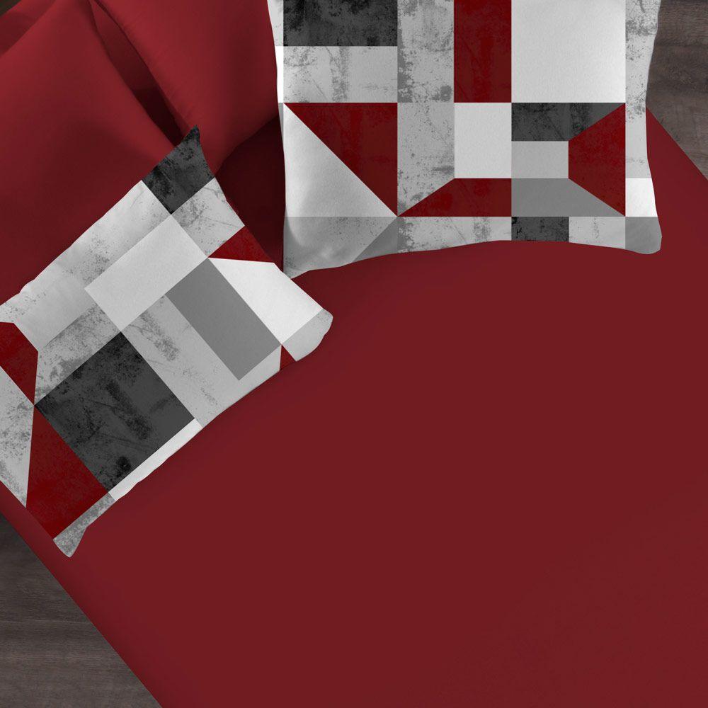 Jogo de Cama Portallar King 3 peças Camurça Vermelho Rubi