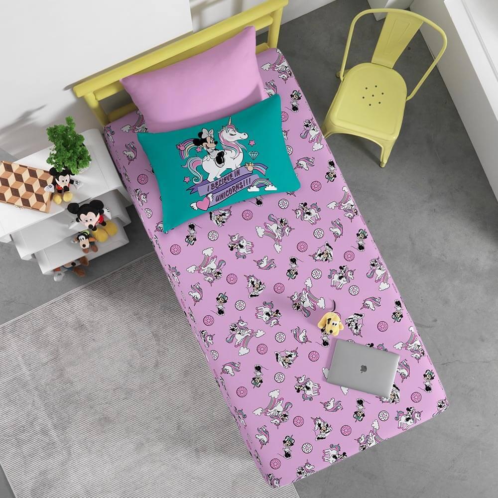 Jogo de Cama Portallar Solteiro 2 peças Malha Disney Minnie e Unicórnio