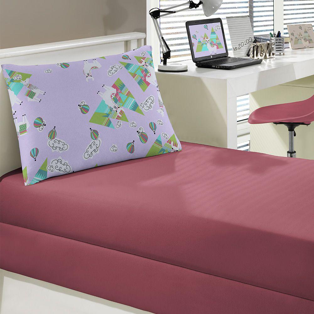 Jogo de cama Portallar Solteiro 2 peças Malha Lhama