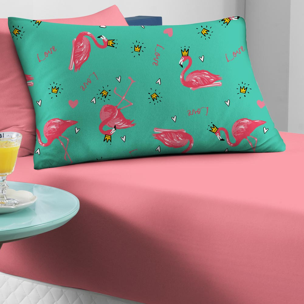 Jogo de Cama Portallar Solteiro 2 peças Malha Portal Play Flamingo Rosa