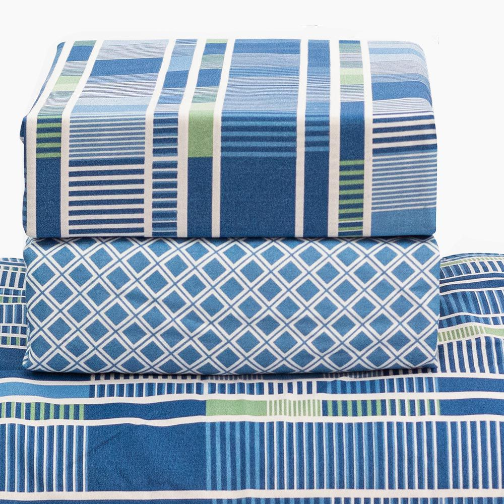 Jogo de Cama Santista Casal 4 peças Fantasia Chester Azul