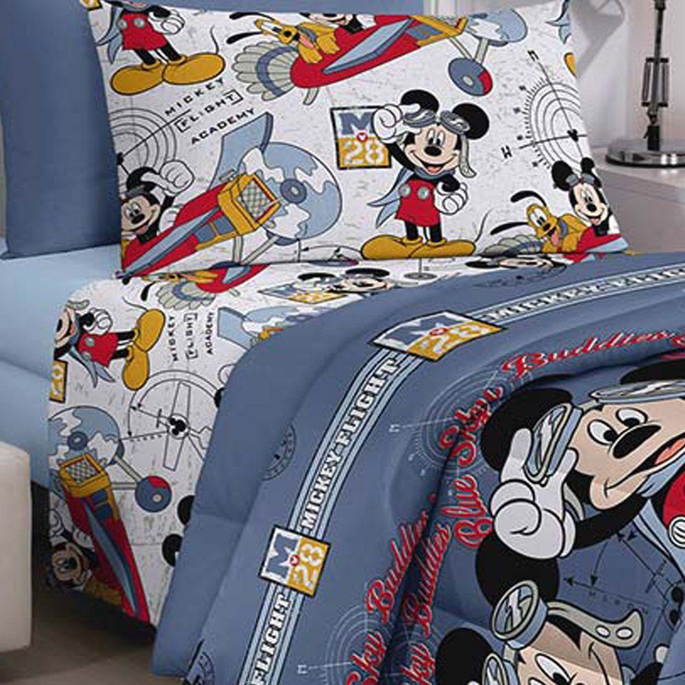 Jogo de Cama Santista Solteiro 3 peças Disney  Mickey Aviador