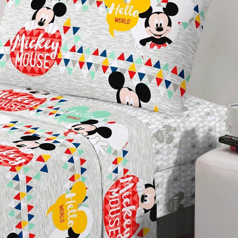 Jogo de Cama Santista Solteiro 3 peças Disney Mickey Geo