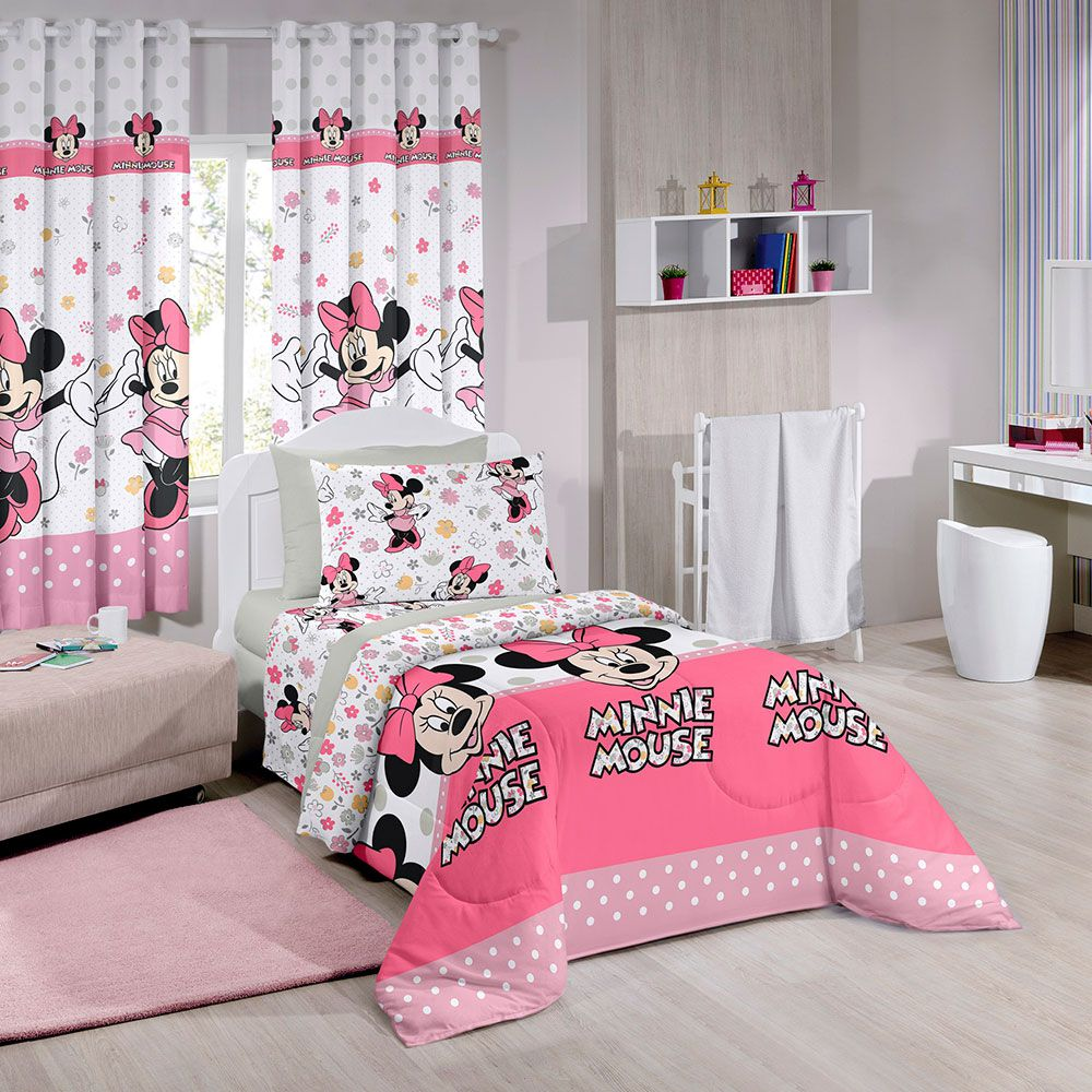 Jogo de Cama Santista Solteiro 3 peças Disney Minnie Happy