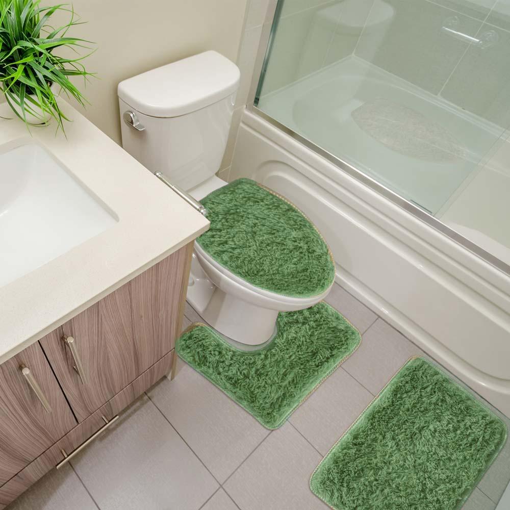 Jogo de Tapete para Banheiro Sultan 3 peças Realce Top Verde