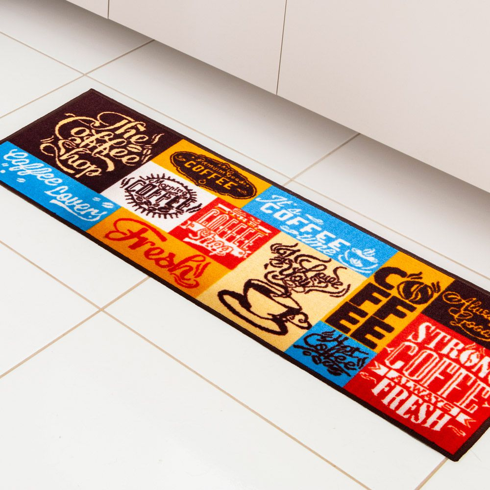 Kit Tapete de Cozinha Corttex 2 peças Color Art Bistrô Coffee