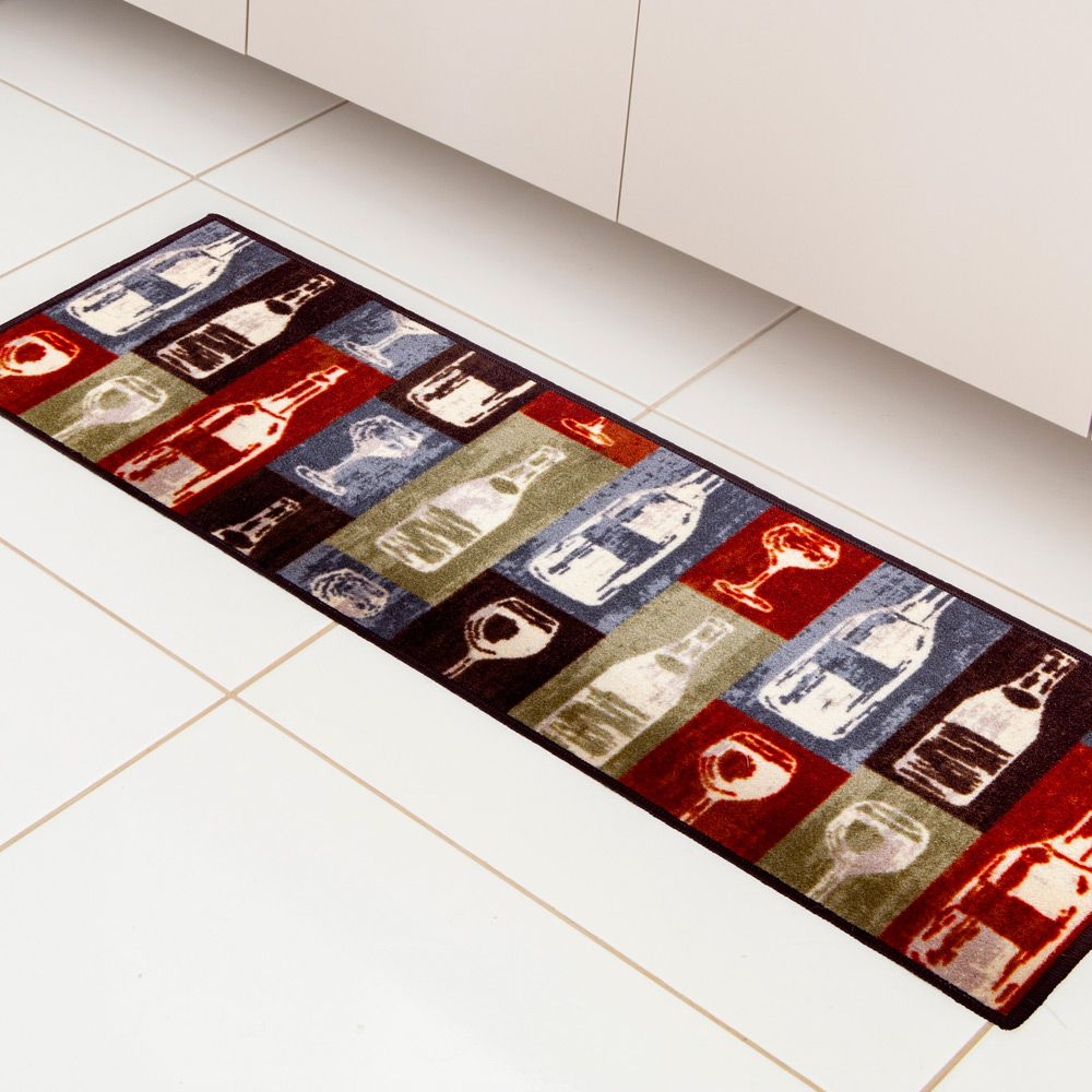 Kit Tapete de Cozinha Corttex 2 peças Color Art Bistrô Garrafa