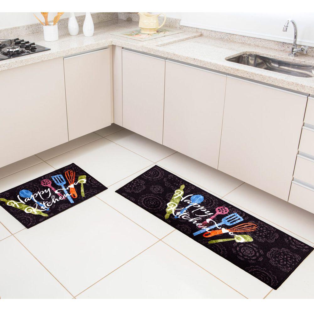 Kit Tapete de Cozinha Corttex 2 peças Color Art Bistrô Happy Kitchen