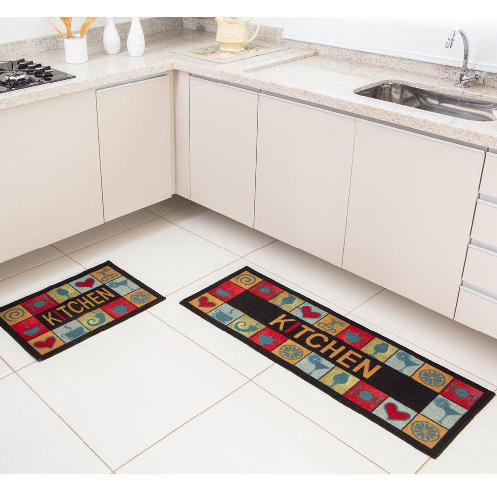 Kit Tapete de Cozinha Corttex 2 peças Color Art Bistrô Kitchen