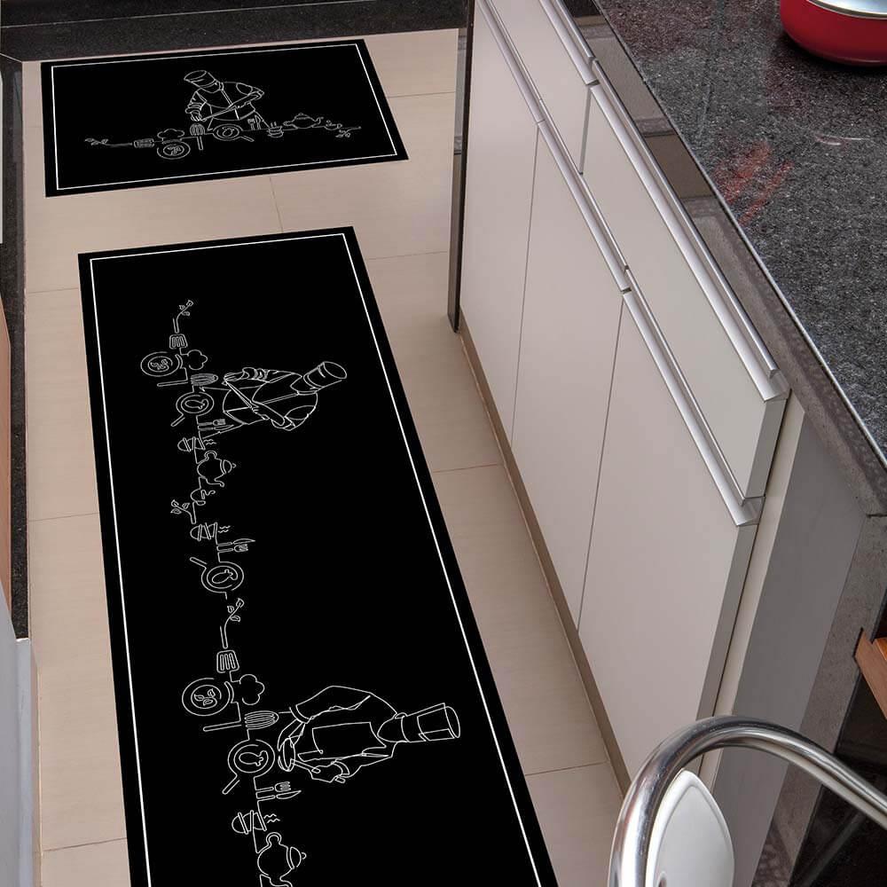 Kit Tapete de Cozinha Kacyumara 2 peças Decore Gourmet