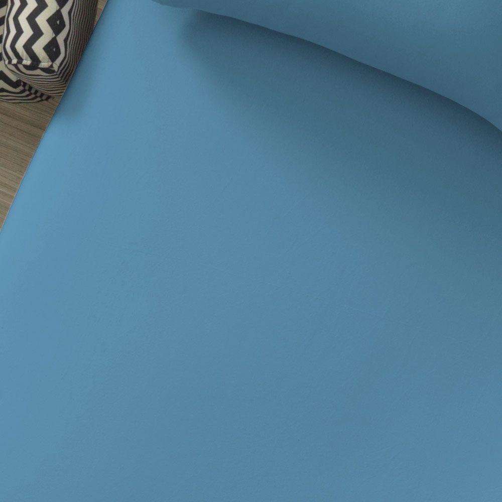 Lençol Avulso com Elástico Liso Portallar Casal Azul Mar