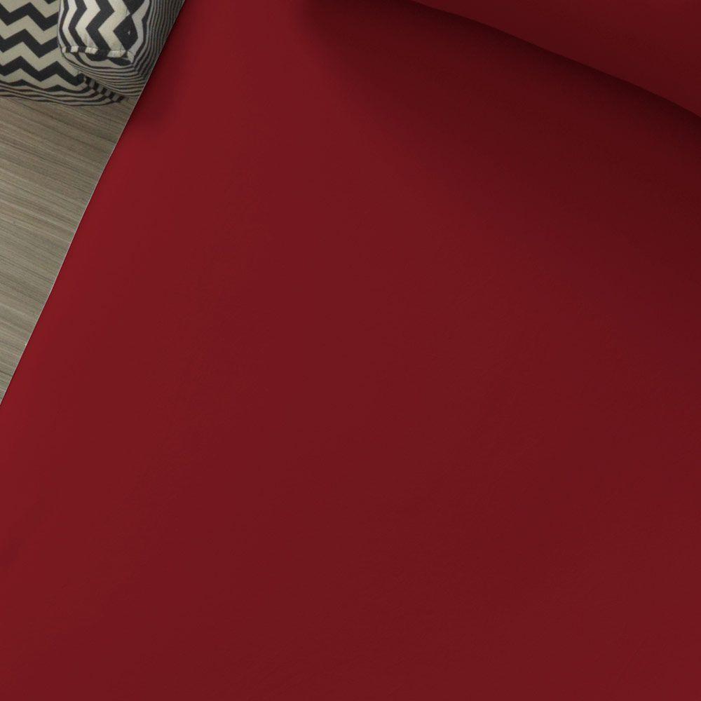 Lençol Avulso com Elástico Liso Portallar Casal Vermelho Rubi