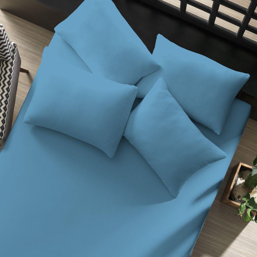 Lençol Avulso com Elástico Liso Portallar Queen Azul Mar