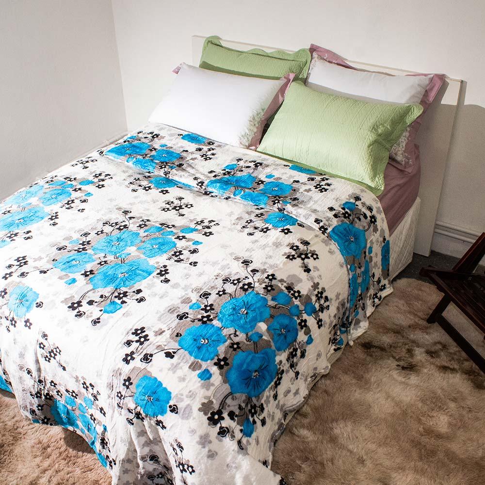 Manta Corttex Flores Azul