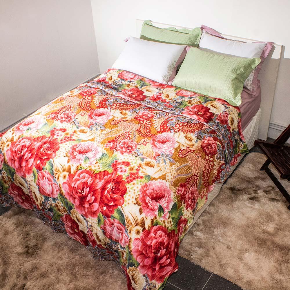 Manta Corttex Flores Rosas