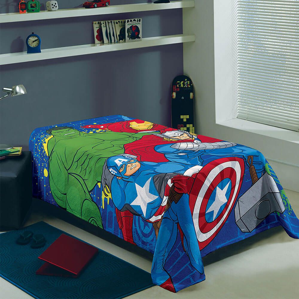 Manta Lepper Solteiro Fleece  Avengers