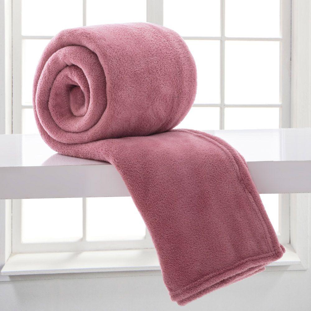 Manta Microfibra Corttex Casal Home Design Rosa Antigo