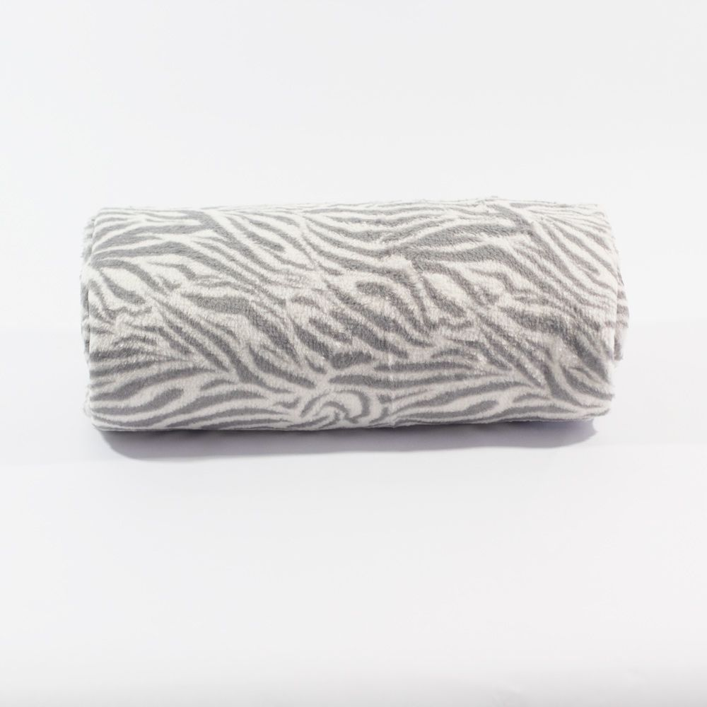 Manta Microfibra Sultan 1,75m x 1,95m - Zebra Prata