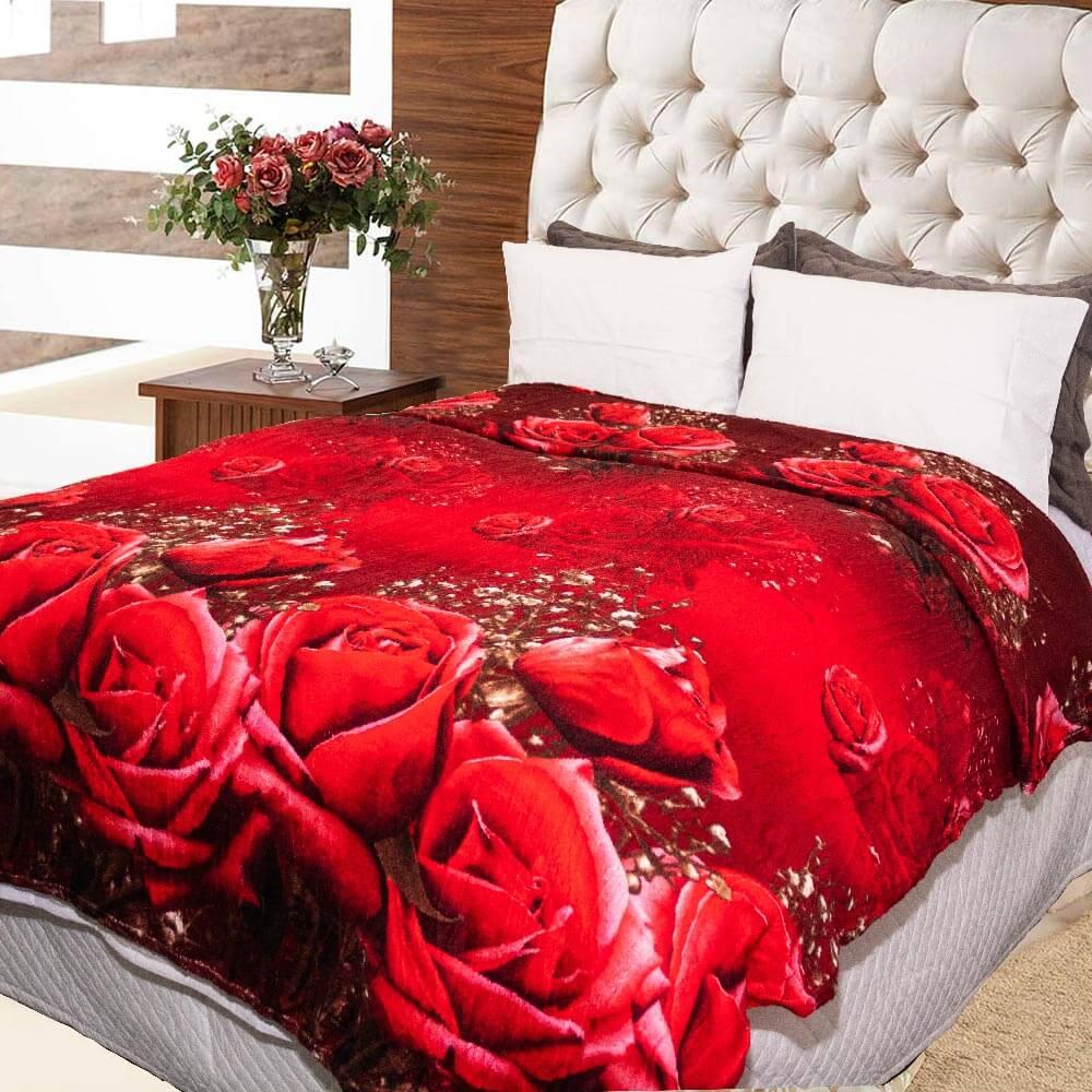 Manta Sultan 180cmx200cm Flores Vermelhas