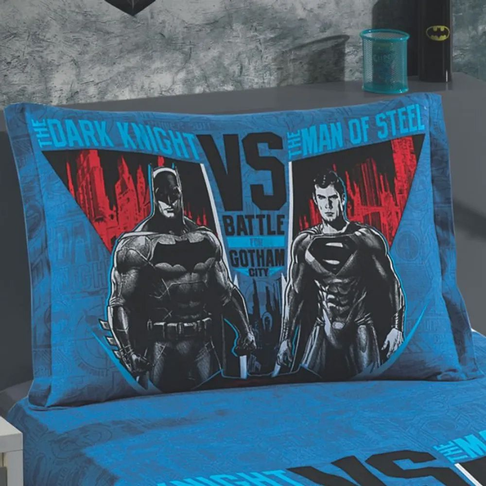 Porta Travesseiro Estampado com Barras Laterais Dohler Batman x Superman 02