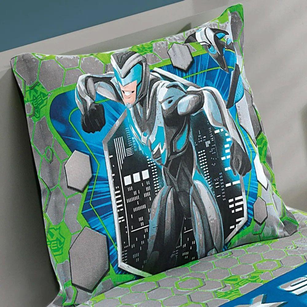 Porta Travesseiro Estampado com Barras Laterais Dohler Max Steel