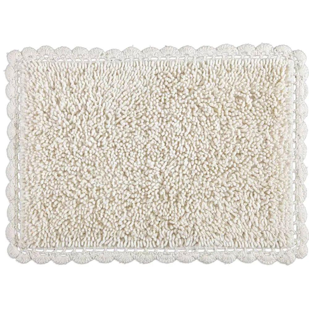 Tapete Kacyumara Decore Tapete Crochê Bolinhas Branco 45x65cm