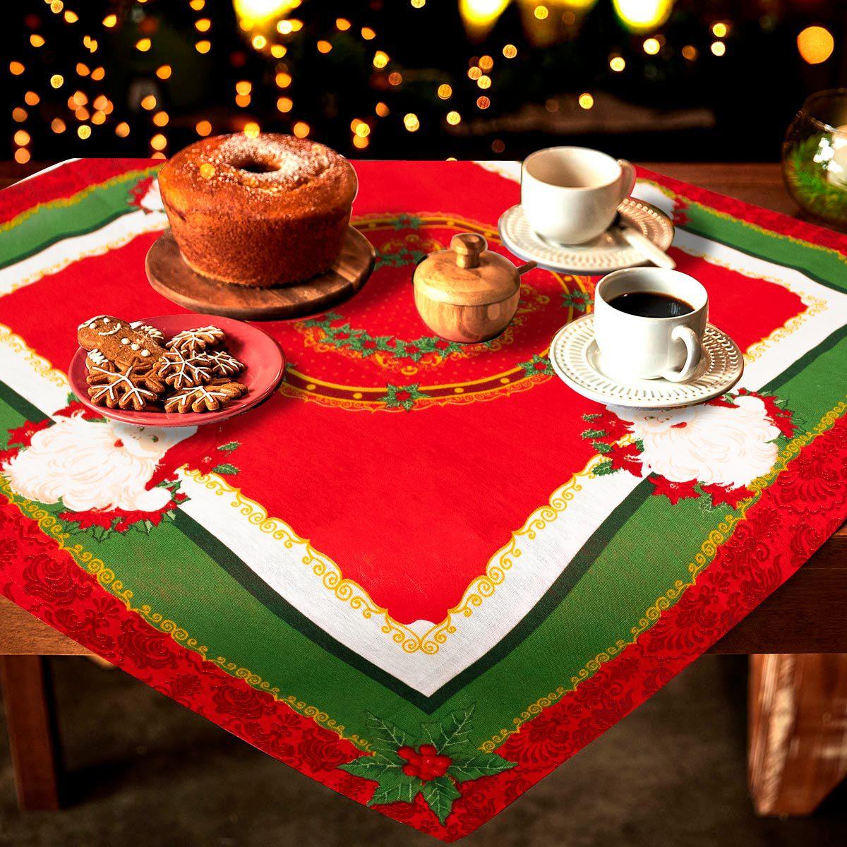 Toalha Centro de Mesa Lepper 75cmx75cm Natal Magia de Natal