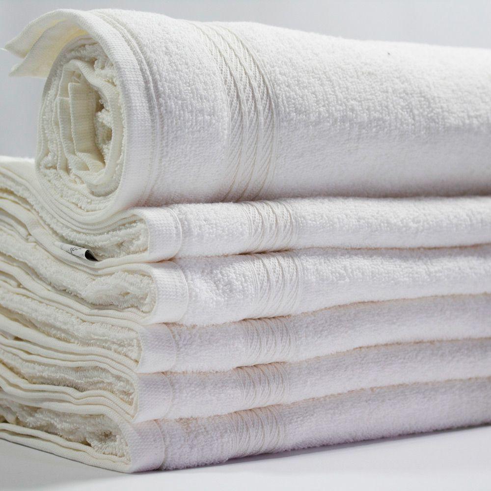 Toalha de Banho Branca Profissional 75cm x 130cm - 350g/m2
