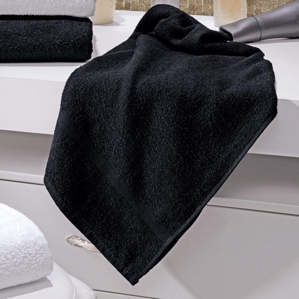 Toalha de Banho Linha Profissional Beauty Preta 42cm x 130cm - 280g/m2