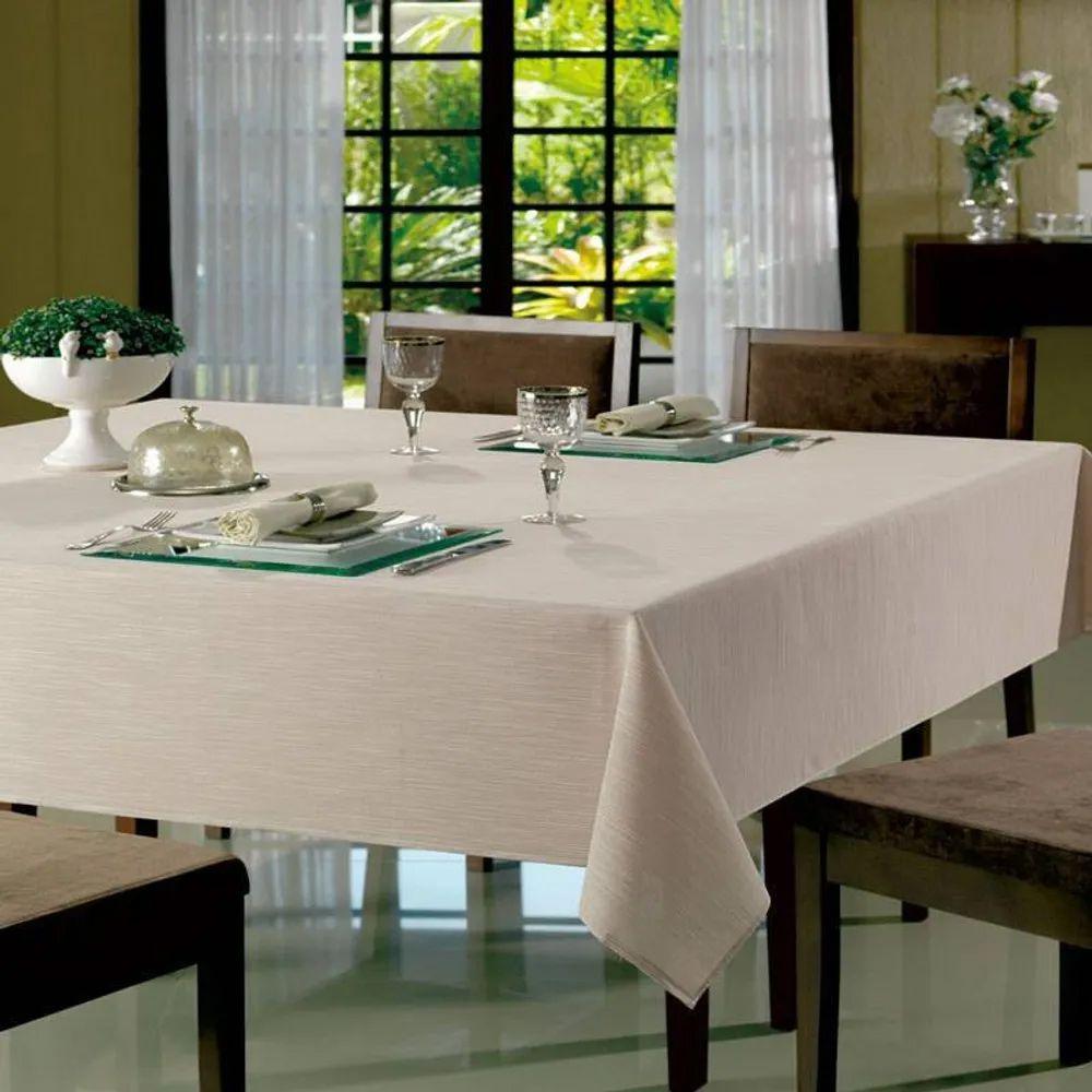 Toalha de Mesa Dohler Quadrada 8 Lugares Dohler Clean Passion Marfim