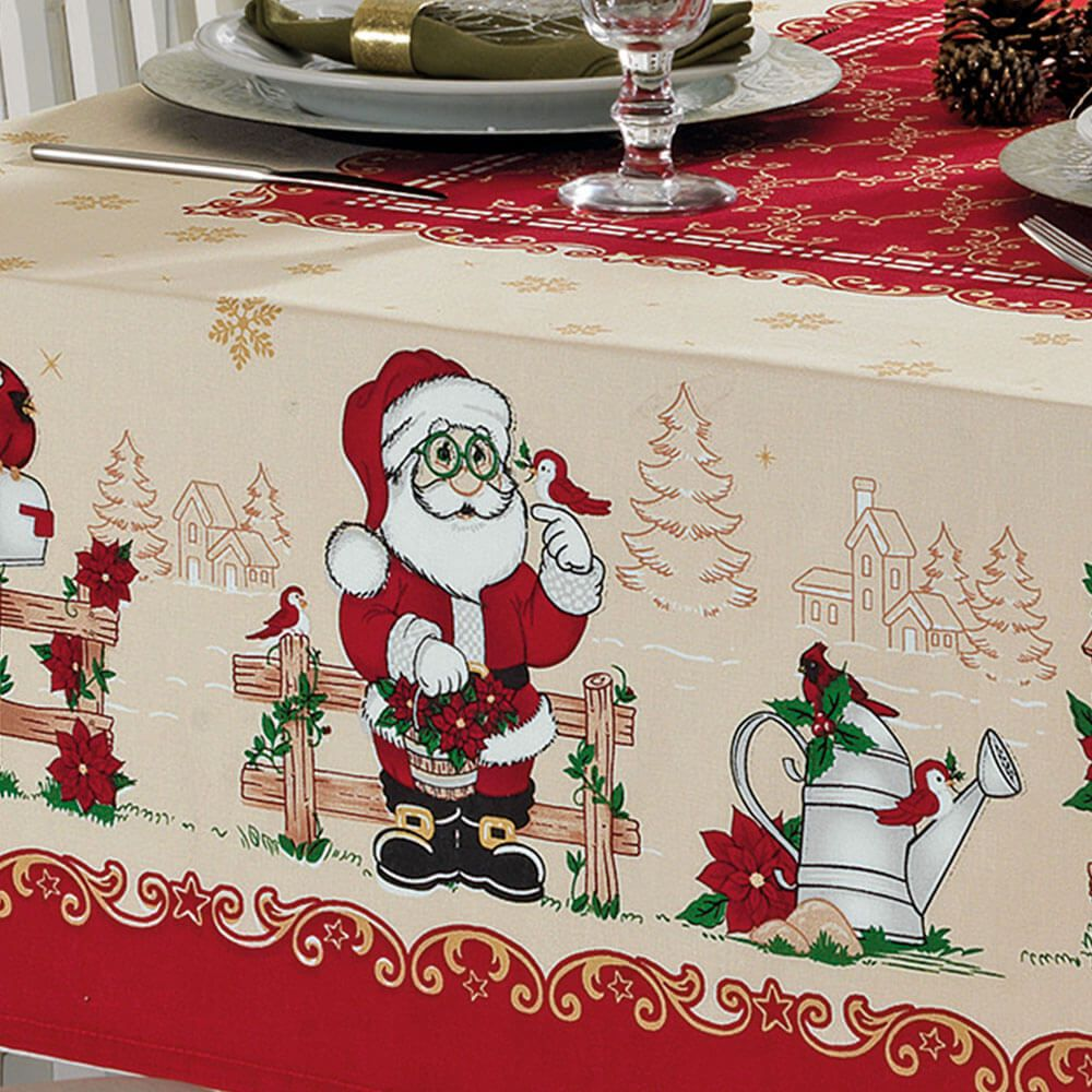 Toalha de Mesa Dohler Retangular 6 Lugares Genebra Natal 80