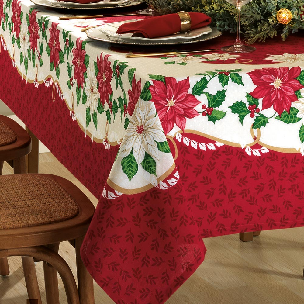 Toalha de Mesa Dohler Retangular 6 Lugares Genebra Natal 90