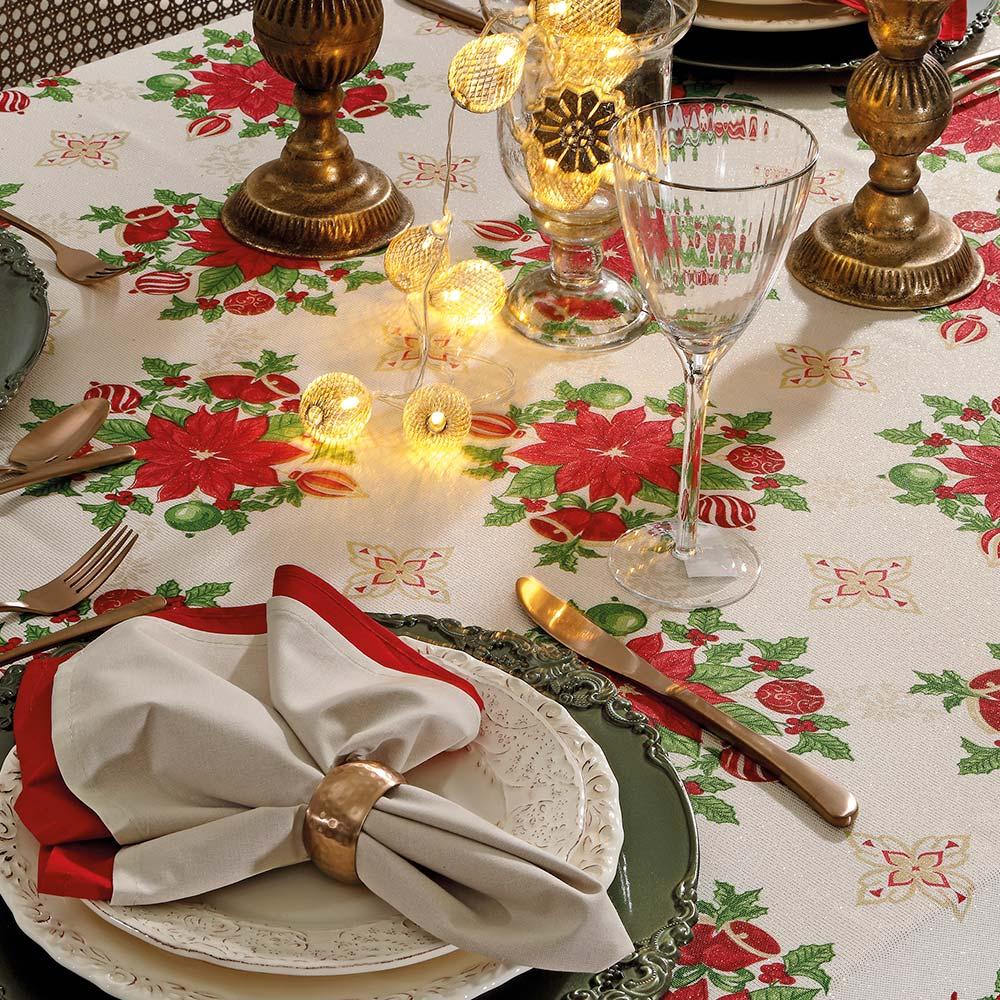Toalha de Mesa Dohler Retangular 8 lugares Celebra Natal 88