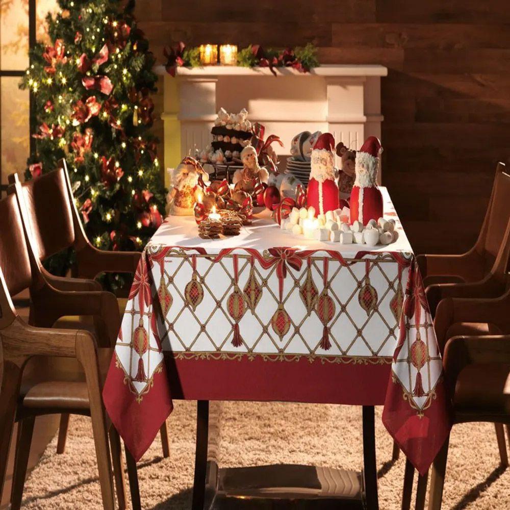 Toalha de Mesa Karsten Quadrada 4 Lugares Natal Decoração de Natal