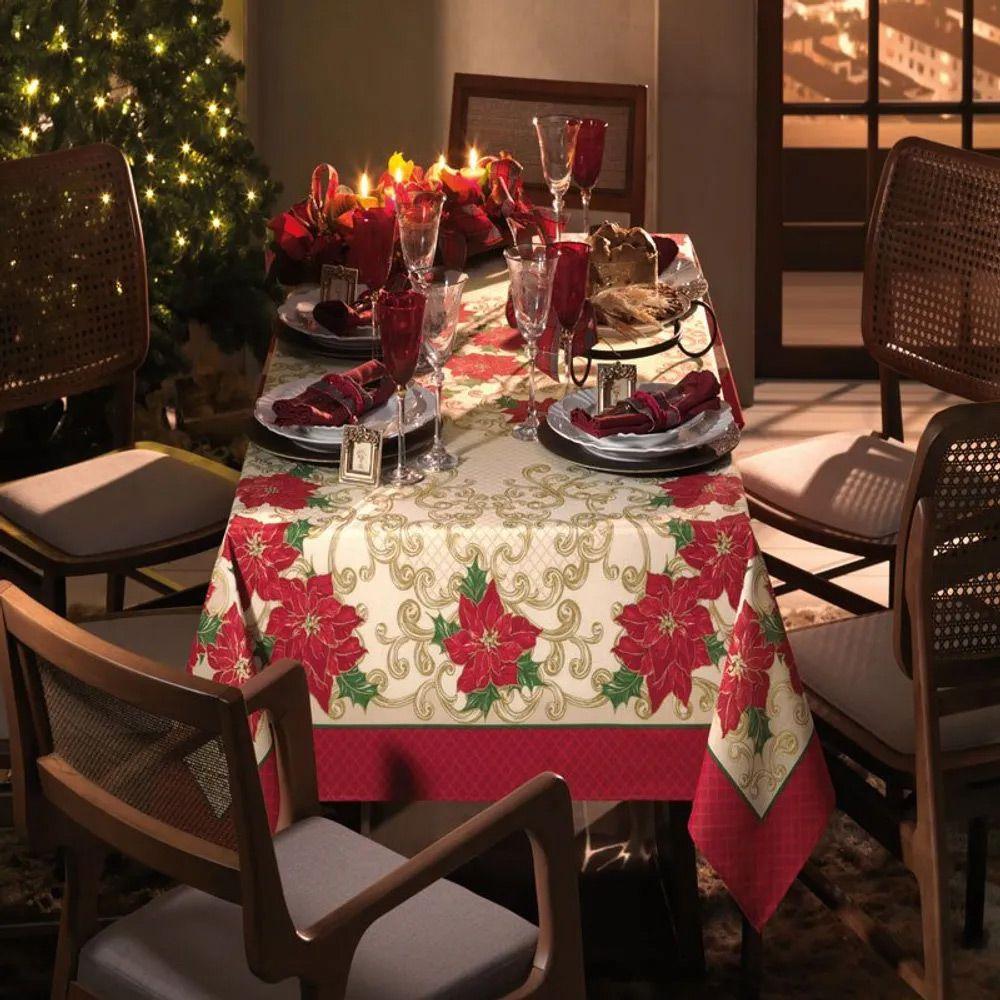 Toalha de Mesa Karsten Quadrada 4 Lugares Natal Poinsettias