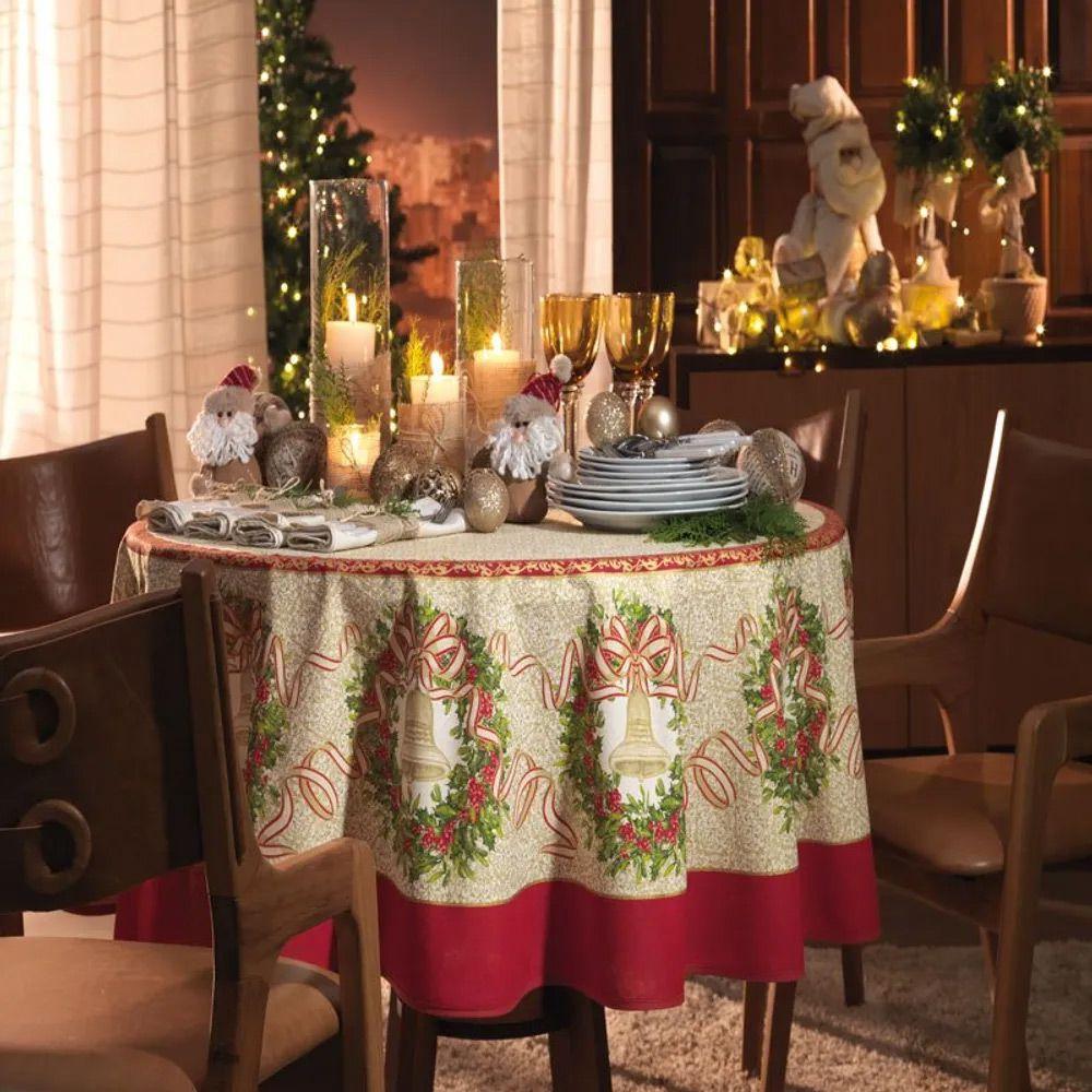 Toalha de Mesa Karsten Quadrada 4 Lugares Natal Sinos Natalinos