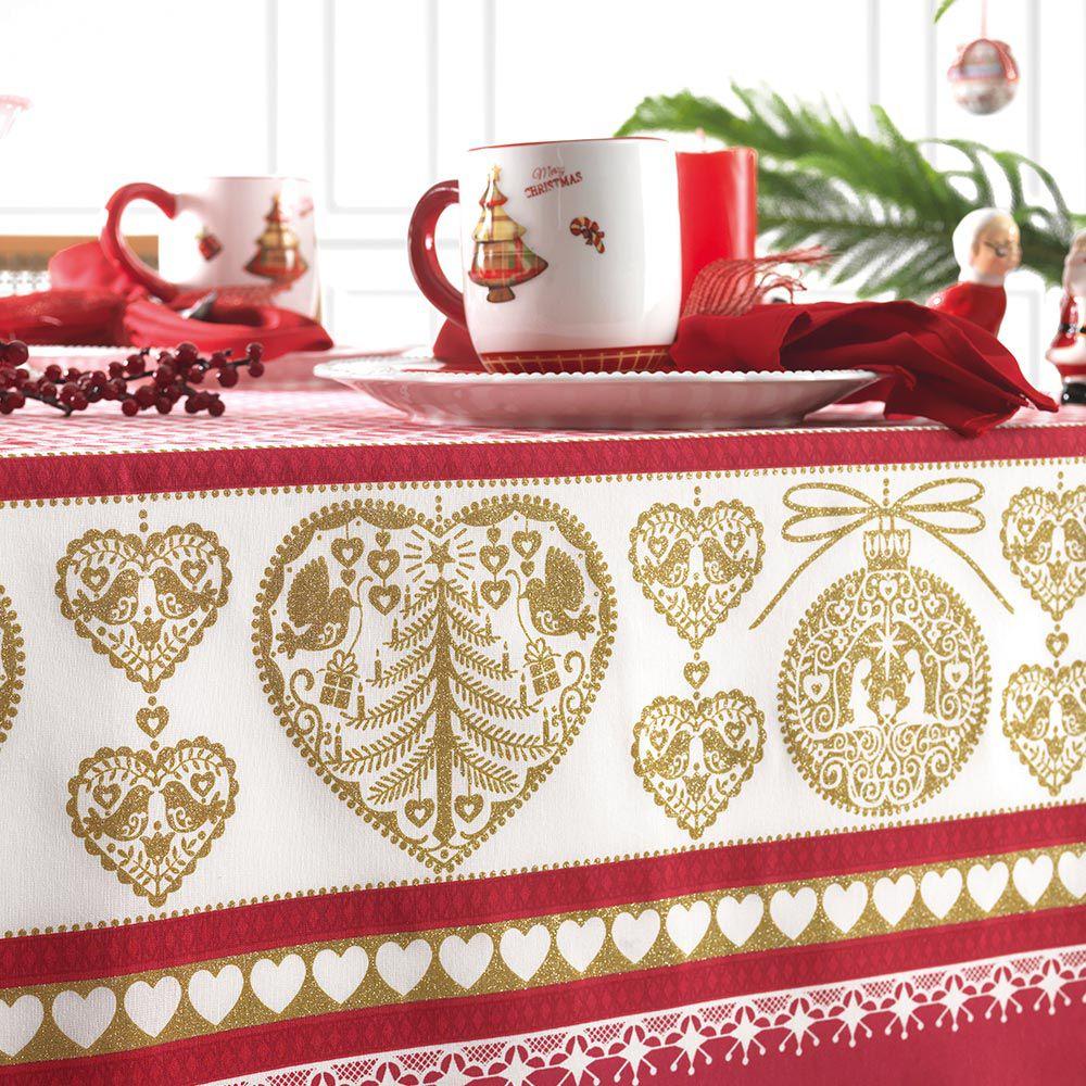 Toalha de Mesa Karsten Quadrada 4 Lugares Natal Tempo de Acreditar