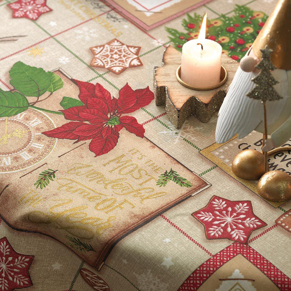 Toalha de Mesa Karsten Quadrada 4 Lugares Natal Tempo de Decorar